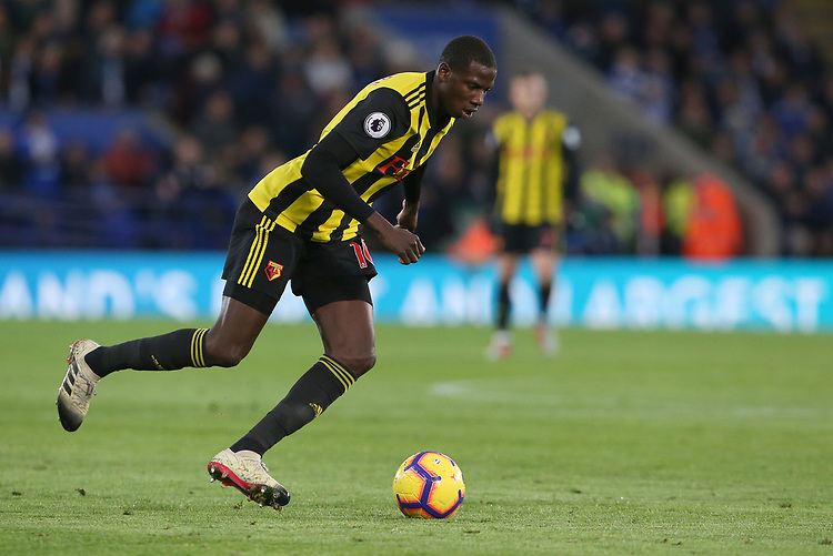 Watford's Abdoulaye Doucoure <br /> <br /> Photographer Stephen White/CameraSport<br /> <br /> The Premier League - Leicester City v Watford - Saturday 1st December 2018 - King Power Stadium - Leicester<br /> <br /> World Copyright © 2018 CameraSport. All rights reserved. 43 Linden Ave. Countesthorpe. Leicester. England. LE8 5PG - Tel: +44 (0) 116 277 4147 - admin@camerasport.com - www.camerasport.com