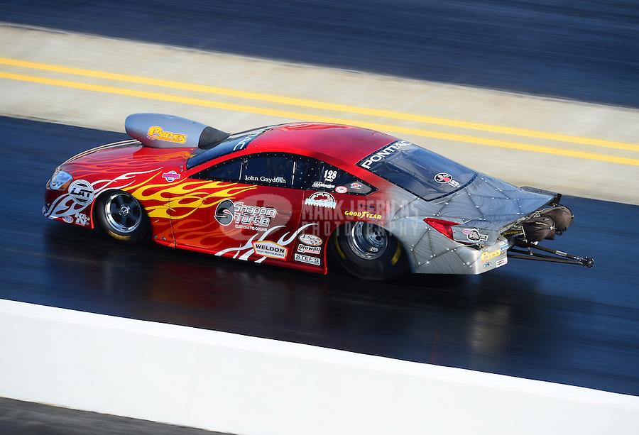 Apr. 13, 2012; Concord, NC, USA: NHRA pro stock driver John Gaydosh during qualifying for the Four Wide Nationals at zMax Dragway. Mandatory Credit: Mark J. Rebilas-