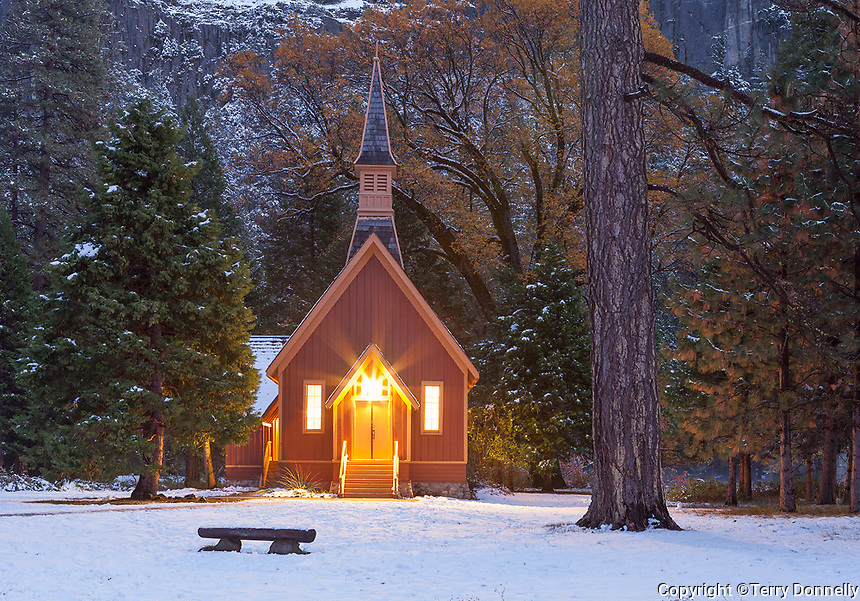 Yosemite National Park, California: Yosemite Valley Chapel (1879) at dusk. It is the oldest structure in Yosemite Valley.
