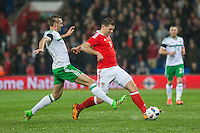Gareth McAuley of Northern Ireland challenges Sam Vokes of Wales during the International Friendly match between Wales and Northern Ireland at Cardiff City Stadium, Cardiff, Wales on 24 March 2016. Photo by Mark  Hawkins / PRiME Media Images.