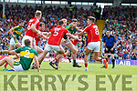 Paul Geaney Kerry  in action against Aidan Walsh Cork in the Munster Senior Football Final at Fitzgerald Stadium on Sunday.