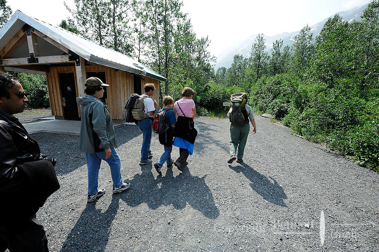 Visitors head down the trail from the train station on their way to Spencer Glacier. The Alaska Railroad's Spencer Glacier Whistlestop train gives visitors access to hiking, camping and stunning views.