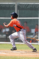 Baltimore Orioles minor league player Steve Bumbry #28 during a spring training game vs the Boston Red Sox at the Buck O'Neil Complex in Sarasota, Florida;  March 22, 2011.  Photo By Mike Janes/Four Seam Images