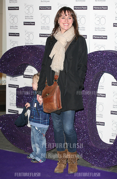 Jill Halfpenny and son Harvey arriving for the Mamas & Papas 30th Birthday Party, Mamas & Papas Store, London. 07/03/2011  Picture by: Alexandra Glen / Featureflash
