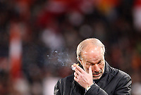 Calcio, Serie A: Roma-Genoa. Roma, stadio Olimpico, 19 marzo 2012..Football, Italian serie A: AS Roma vs Genoa. Rome, Olympic stadium, 19 march 2012..AS Roma sporting director Walter Sabatini holds a cigarette before the match..UPDATE IMAGES PRESS/Riccardo De Luca