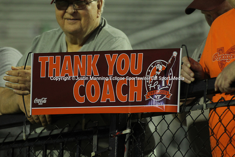 """December 26, 2015: Virginia Tech fan sign saying """"Thank you Coach"""" for legendary coach Frank Beamer's last game in the Camping World Independence Bowl at Independence Stadium in Shreveport, LA. Justin Manning/ESW/CSM"""