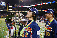 Michihiro Ogasawara and Akinori Otsuka of Japan during World Baseball Championship at Petco Park in San Diego,California on March 20, 2006. Photo by Larry Goren/Four Seam Images