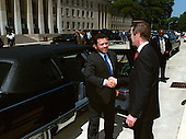 His Majesty King Abdullah II (left), of the Hashemite Kingdom of Jordan, is welcomed by United States Secretary of Defense William Cohen (right) as he arrives at the Pentagon in Washington, D.C. on May 20, 1999.  The King will greeted with a military full honor arrival ceremony on the Pentagon River Parade field.  The two men will later meet to discuss a range of security issues of interest to both nations.  .Mandatory Credit: Robert D. Ward / DoD via CNP.