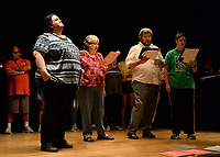 "NWA Democrat-Gazette/ANDY SHUPE<br /> Britt Graves (from left), Katherine Shurlds, Ray Minor and Sarah Warnock rehearse a scene Wednesday, Sept. 18, 2019, for ""Gridiron"" in Giffels Auditorium in Old Main on the University of Arkansas campus in Fayetteville."