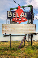 The sign for the old Bel Air Drive In Theater on Route 66 in Mitchell Illinois.  The theater opened in the 1950 and closed in 1987, with the sigh being all that remains.