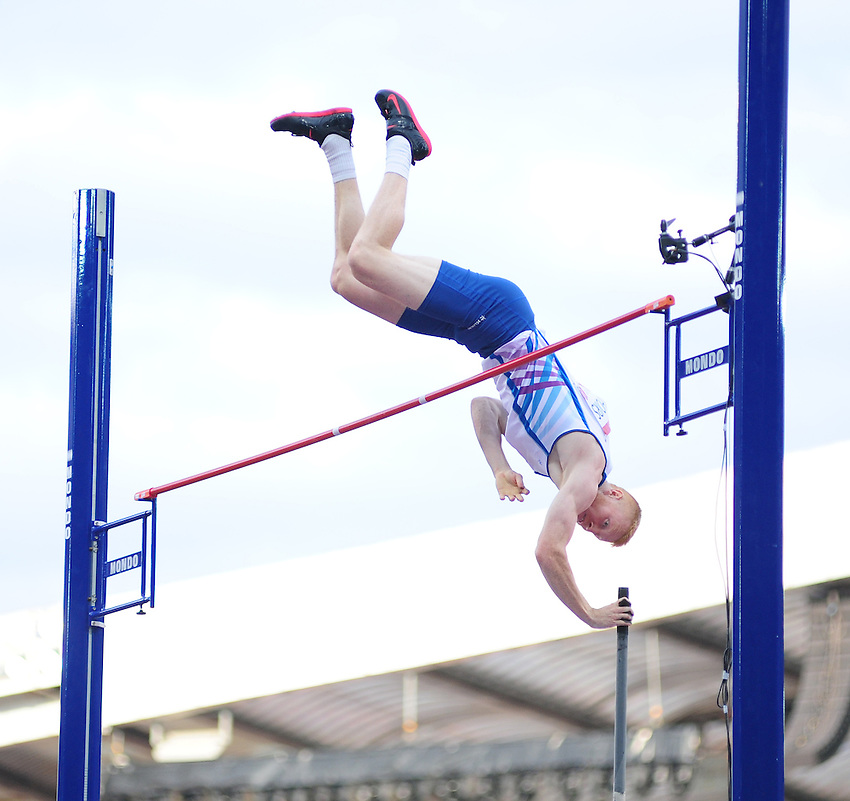 Scotland's Jax Thoirs competes in the men's pole vault final<br /> <br /> Photographer Chris Vaughan/CameraSport<br /> <br /> 20th Commonwealth Games - Day 9 - Friday 1st August 2014 - Athletics - Hampden Park - Glasgow - UK<br /> <br /> &copy; CameraSport - 43 Linden Ave. Countesthorpe. Leicester. England. LE8 5PG - Tel: +44 (0) 116 277 4147 - admin@camerasport.com - www.camerasport.com