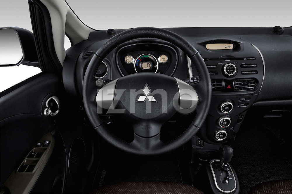 Car pictures of steering wheel view of a 2014 Mitsubishi i MIEV 5 Door Hatchback