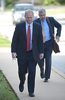 NWA Democrat-Gazette/ANDY SHUPE<br /> Former Ecclesia College President Oren Paris III walks Wednesday into the John Paul Hammerschmidt Federal Building in Fayetteville. Paris was sentenced for conspiracy to commit fraud in a kickback scheme involving state General Improvement Fund grants.