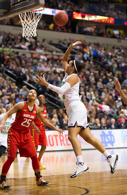 Apr. 6, 2014; Notre Dame Fighting Irish guard Kayla McBride goes up to shoot against the Maryland Terrapins in the first game of the semifinals of the NCAA Final Four tournament at the Bridgestone Arena in Nashville, Tenn.  Notre Dame defeated Maryland 87 to 61. Photo by Barbara Johnston/University of Notre Dame