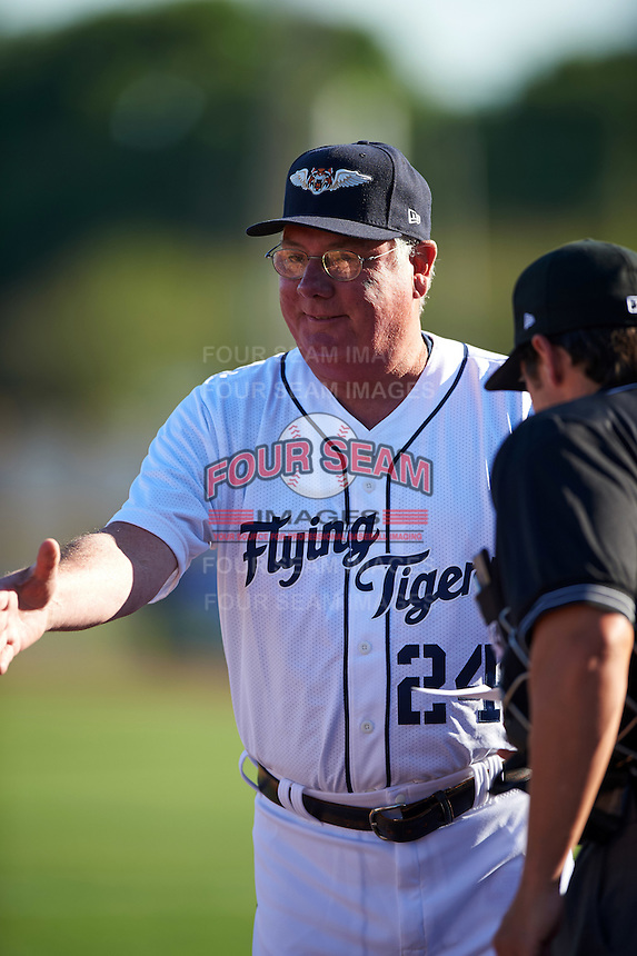Lakeland Flying Tigers manager Dave Huppert (24) during the lineup exchange before a game against the Tampa Yankees on April 7, 2016 at Henley Field in Lakeland, Florida.  Tampa defeated Lakeland 9-2.  (Mike Janes/Four Seam Images)