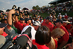 Anthony Kim, Phil Mickelson and JB Holmes with the rest of the ameriacan team after winning the final round of Single Matches at The 37th Ryder cup from Valhalla Golf Club in Louisville, Kentucky....Photo: Fran Caffrey/www.golffile.ie.