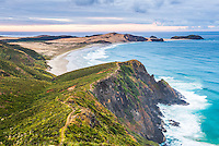 Te Werahi Beach at sunrise (with Te Paki Coastal Track path visible), Cape Reinga, New Zealand