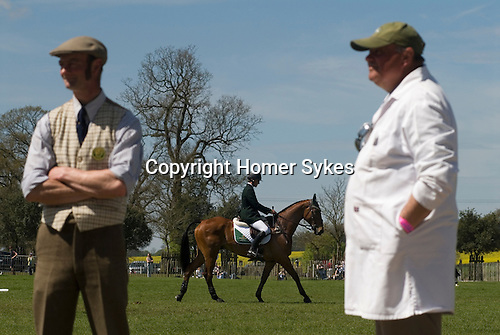 Badminton Horse Trials Gloucestershire UK. Competitors in the Collecting Ring.  HOMER SYKES