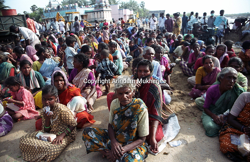 People of Kallar. one of the most effected areas of Tamil Nadu, waiting patiently for food and shelter.India.