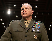 """United States Marine Corps General Robert B. Neller, Commandant of the Marine Corps prior to his giving testimony before the US Senate Committee on Armed Services during a hearing on """"Chain of Command's Accountability to Provide Safe Military Housing and Other Building Infrastructure to Service members and Their Families"""" on Capitol Hill in Washington, DC on Thursday, March 7, 2019.<br /> Credit: Ron Sachs / CNP"""