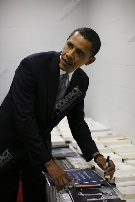 Senator Barack Obama, Democratic presidential candidate, signs books and other paraphrenalia after speaking at rally held at the Fayetteville Civic Center. Fayetteville, North Carolina, October 19, 2008.