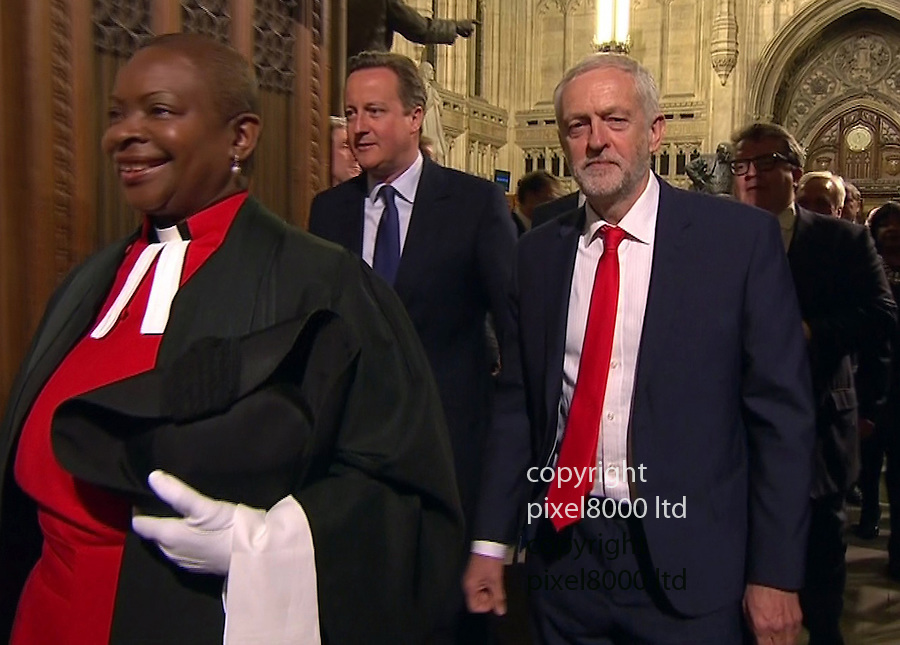 Pic shows: State Opening of Parliament<br /> Awkward - <br /> PM David Cameron tries to make polite conversation but Jeremy Corbyn appears to be having none of it.<br /> <br /> <br /> <br /> Picture by Pixel8000 07917221968