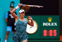 Alize Cornet of France returns the ball in her match against Caroline Wozniacki of Denmark during day three of the Mutua Madrid Open at La Caja Magica on May 05, 2019 in Madrid, Spain. /NortePhoto.com