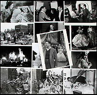 BNPS.co.uk (01202 558833)<br /> Pic:  Juliens/BNPS<br /> <br /> A montage of behind the scenes and in front of camera shots.<br /> <br /> Amazing behind the scenes photos of the classic film Gone With The Wind have come to light 80 years later.<br /> <br /> The comprehensive archive of over 800 images includes candid snaps of the leads Clark Gable and Vivien Leigh unwinding between takes.<br /> <br /> One extraordinary photo shows the pair still in costume playing a board game, with another capturing the burning of Atlanta in the film.<br /> <br /> There is also a picture of the director Victor Fleming holding the novel 'Gone With The Wind' while in discussion with Leigh.