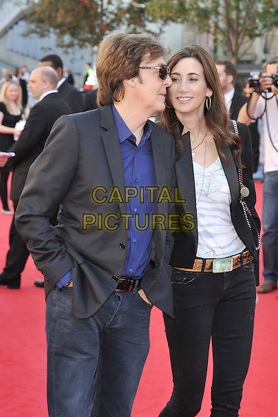Paul McCartney & Nancy Shevell.Arrivals to the UK Premiere of 'George Harrison: Living In The Material World' at BFI Southbank, London, England..October 2nd, 2011.half length blue shirt jacket sunglasses shades white top couple black profile .CAP/MAR.© Martin Harris/Capital Pictures.