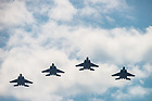 September 8, 2017; In preparation for the ceremonial flyover of the Notre Dame vs. Georgia football game, four United States Air Force F-15E jets make a test flight over campus. (Photo by Barbara Johnston/University of Notre Dame)
