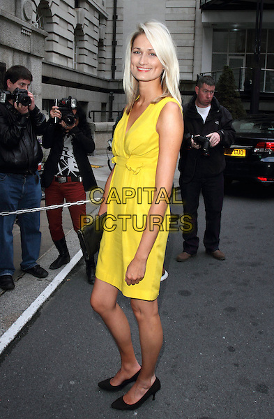 Victoria Fox.Celebrity Fake Bake Party at London Film Museum, South Bank, London, England  19th July  2012..full length yellow dress sleeveless black shoes .CAP/ROS.©Steve Ross/Capital Pictures
