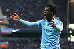 Wilfried Bony of Manchester City shows frustration during the Barclays Premier League match at the Etihad Stadium. Photo credit should read: Philip Oldham/Sportimage