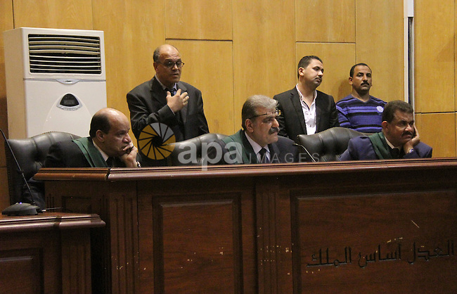 judges attend the trial of alaa and gamal mubarak the sons of