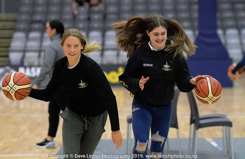 Halftime entertainment during the 2019 Schick AA Girls' Secondary Schools Basketball National Championship final between St Peters School Cambridge and Hamilton Girls' High School at the Central Energy Trust Arena in Palmerston North, New Zealand on Saturday, 5 October 2019. Photo: Dave Lintott / lintottphoto.co.nz