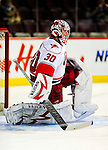 31 March 2010: Carolina Hurricanes' goaltender Cam Ward warms up prior to a game against the Montreal Canadiens at the Bell Centre in Montreal, Quebec, Canada. The Hurricanes defeated the Canadiens 2-1 in their last home meeting of the regular season. Mandatory Credit: Ed Wolfstein Photo