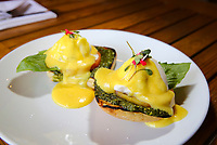 March 13, 2019. San Diego, CA. USA| Burrata Benedict vegetarian dish served at both Barbusa and Nonna restaurants located in Little Italy. | Photos by Jamie Scott Lytle. Copyright.