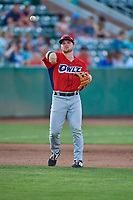 Morgan McCullough (18) of the Orem Owlz during the game against the Ogden Raptors at Lindquist Field on July 27, 2019 in Ogden, Utah. The Raptors defeated the Owlz 14-1. (Stephen Smith/Four Seam Images)