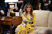 U.S. first lady Melania Trump attends a meeting in the Oval Office between President Donald Trump and Indian Prime Minister Narendra Modi June 26, 2017 in Washington, DC. Trump and Modi are scheduled to deliver joint statements later today following their meetings.  <br /> Credit: Win McNamee / Pool via CNP