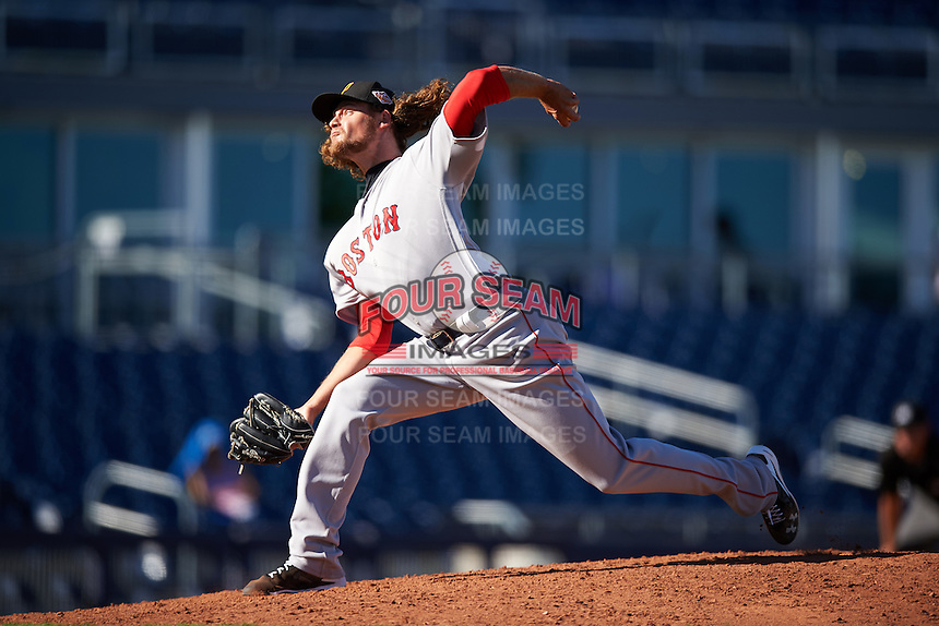 Surprise Saguaros pitcher Trey Ball (38), of the Boston Red Sox organization, during a game against the Peoria Javelinas on October 12, 2016 at Peoria Stadium in Peoria, Arizona.  The game ended in a 7-7 tie after eleven innings.  (Mike Janes/Four Seam Images)