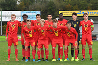 20190927 - WOLVERTEM , BELGIUM : Belgian team with Timon Vanhoutte (12)   Richie Sagrado (13)   Sofiane Et Taibi (14)   Bram Lagae (15)   Gilles Degryse (16)   Liam De Smet (17)   Raf Smekens (18)   Bilal El Khannous (19)   Mathis Servais (20)   Sekou Diawara (21)   Sami Sakkali (22) pictured during the friendly  soccer match between  under 16 teams of  Belgium and Ukraine , in Wolvertem , Belgium . Thursday 26 th September 2019 . PHOTO SPORTPIX.BE / DIRK VUYLSTEKE