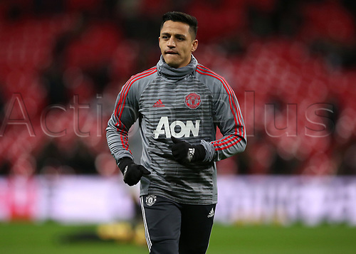 31st January 2018, Wembley Stadium, London England; EPL Premier League football, Tottenham Hotspur versus Manchester United; New signing Alexis Sanchez of Manchester United during pre match warm up