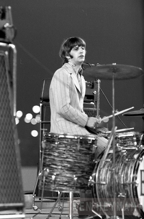 Ringo Starr in his last Beatles' concert at Shea Stadium.