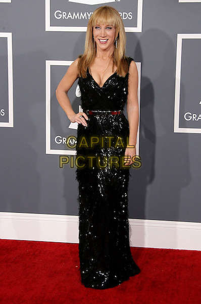 Kathy Griffin.The 55th Annual GRAMMY Awards held at STAPLES Center, Los Angeles, California, USA..February 10th, 2013.grammys full length dress black sleeveless sparkly silver belt hand on hip .CAP/ADM.©AdMedia/Capital Pictures.