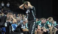 Handball 2. Bundesliga Herren - SC DHfK gegen HC Erlangen am 05.11.2013 in Leipzig (Sachsen). <br /> IM BILD: DHfK Trainer Christian Prokop schl&auml;gt die H&auml;nde &uuml;ber dem Kopf zusammen <br /> Foto: Christian Nitsche