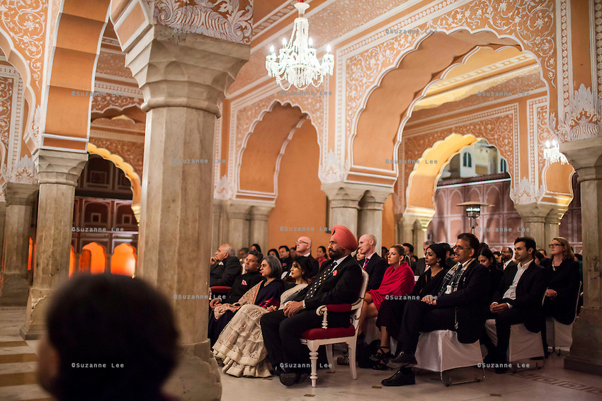 Guests and audiences listen to violinist Niki Vasilakis during her solo violin recital at the OzFest Gala Dinner in the Jaipur City Palace, in Rajasthan, India on 10 January 2013. Photo by Suzanne Lee