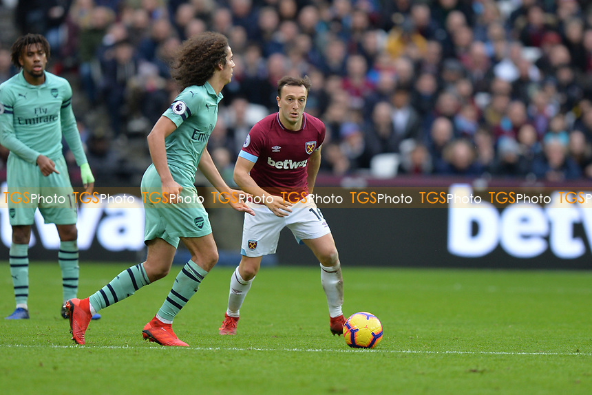 Matteo Guendouzi of Arsenal  during West Ham United vs Arsenal, Premier League Football at The London Stadium on 12th January 2019