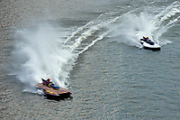 "Bob Hampton, GP-182, Xanadu, (1982 Grand Prix class pickle-fork Lauterbach hydroplane), Scott Kirshner, F-266 ""Miss Supersonic II"" , 266 class hydroplane"