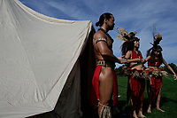 NEW YORK, USA - October 13: Indigenous descendible gather during the fifth annual Indigenous Peoples Celebration on Randall's Island on October 13, 2019 in New York. Hundreds of indigenous gather together for demanding the stop killing of their people in Ecuador and the growing call for greater environmental awareness. (Photo by Kena Betancur/VIEWpress)