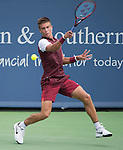 Borna Coric (CRO) takes the first set from Stanislaus Wawrinka 6-3 at the Western and Southern Open in Mason, OH on August 19, 2015.