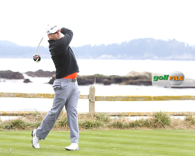 05 FEB 13 Justin Hicks on 18 tee during Tuesdays Practice Round at The AT&T Pebble Beach National Pro-Am at The Pebble Beach Golf Links in Carmel, California. (photo:  kenneth e.dennis / kendennisphoto.com)